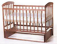 Детская кроватка Наталка с маятником, ясень темная