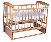 Детская кроватка Наталка с маятником (натур) + МАТРАСИК