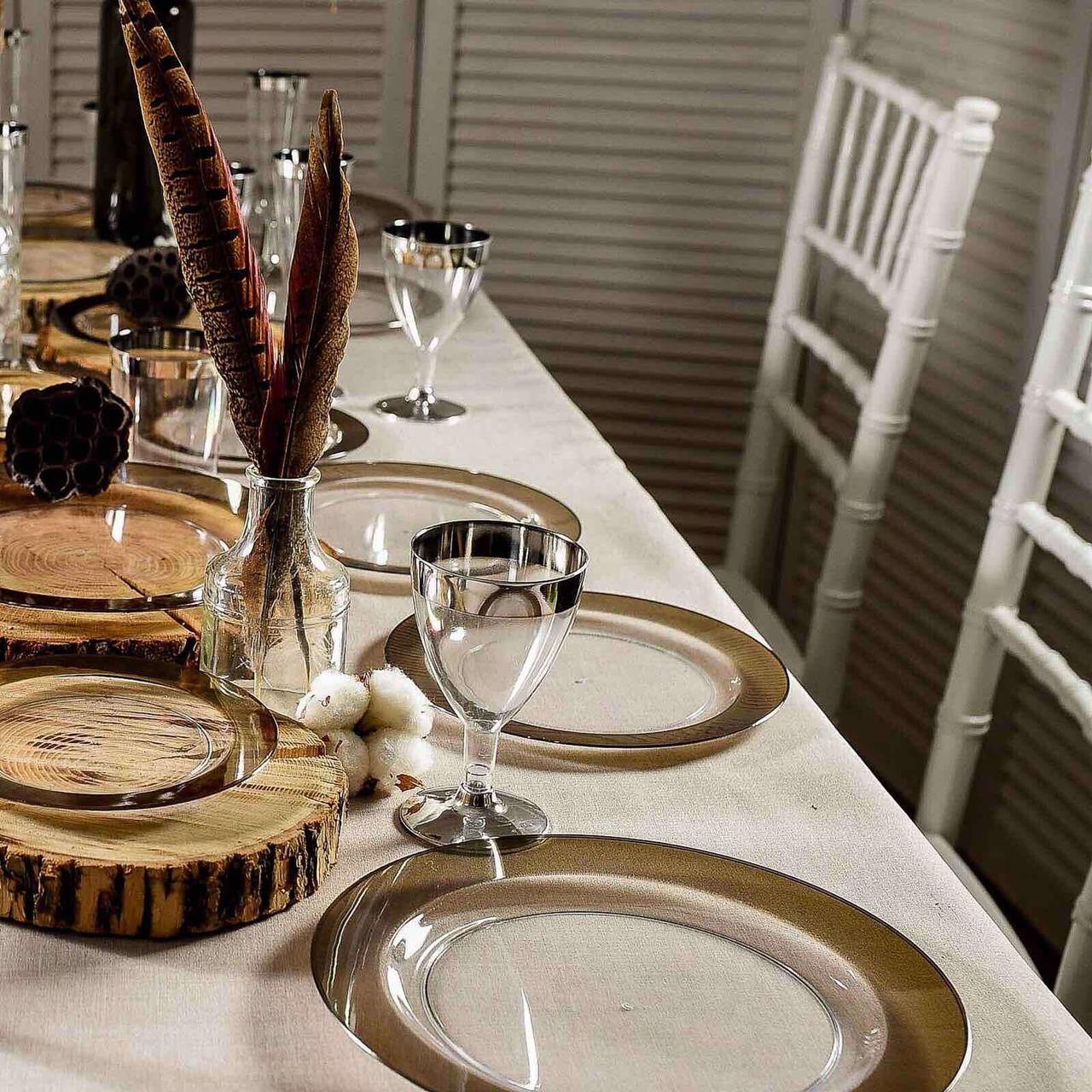 Одноразовая тарелка 6 шт 260 мм премиум для фуршета и кейтеринга Capital For People плотная прозрачные с сереб