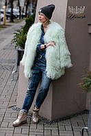 Женская зимняя теплая шуба с мехом лама молочная СМ ЛХЛ