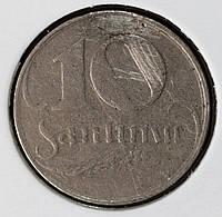 Монета Латвии 10 сантимов 1922 г.