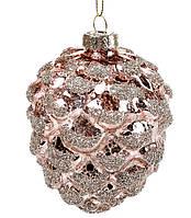 """Новогоднее елочное украшение """"Шишка"""", 10 см, цвет - бронза, стекло, набор 6 шт"""