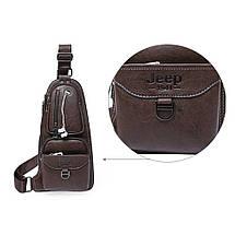 Шкіряна чоловіча сумка через плече Jeep 777 Bag   Коричнева, фото 2
