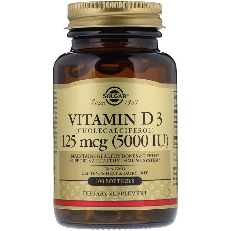 """Витамин D3, SOLGAR """"Vitamin D3 (Cholecalciferol)"""" 5000 МЕ (100 гелевых капсул)"""