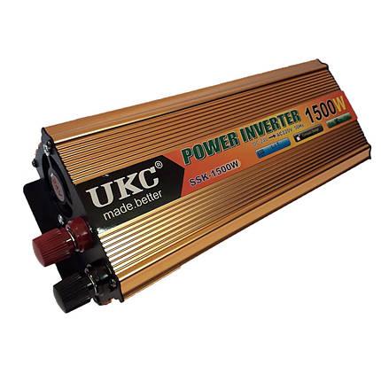 Інвертор автомобільний перетворювач напруги AC/DC SSK 1500W 24V, фото 2