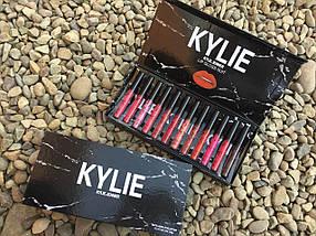 Набір рідких матових помад Kylie Black у мармуровій чорній упаковці 12 штук, фото 3