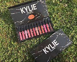 Набір рідких матових помад Kylie Black у мармуровій чорній упаковці 12 штук, фото 2