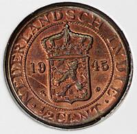Монета Голландской Индии 1/2 цента 1945 г.