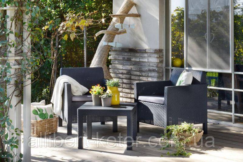 Набор садовой мебели Orlando Balcony Set Graphite ( графит ) из искусственного ротанга ( Allibert by Keter )