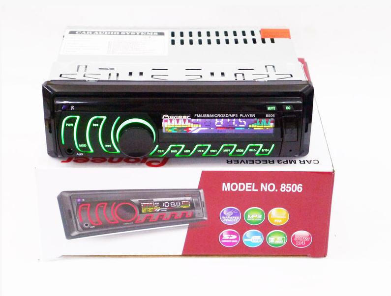 Автомобильная магнитола 1DIN MP3-8506 RGB панель + пульт управления | Автомагнитола