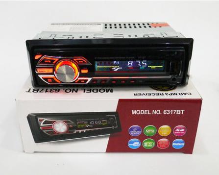 Автомобильная магнитола 1DIN MP3-6317BT RGB/Bluetooth | RGB панель + пульт управления | Автомагнитола