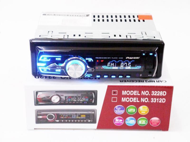Автомобільна магнітола 1DIN MP3-3228D RGB/Знімна панель + пульт управління | Автомагнітола