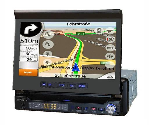 Автомобильная магнитола 1DIN DA-766 с выезжающим экраном + пульт управления | Автомагнитола, фото 2