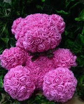 Гарний ведмедик з латексних 3D троянд 25 см в подарунковій коробці | Червоний, фото 3