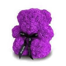 Гарний ведмедик з латексних 3D троянд 40 см в подарунковій коробці   Рожевий, фото 3