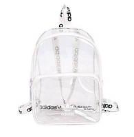 Женский прозрачный рюкзак ADIDAS адидас реплика жіночий школьный портфель Чёрный Белый