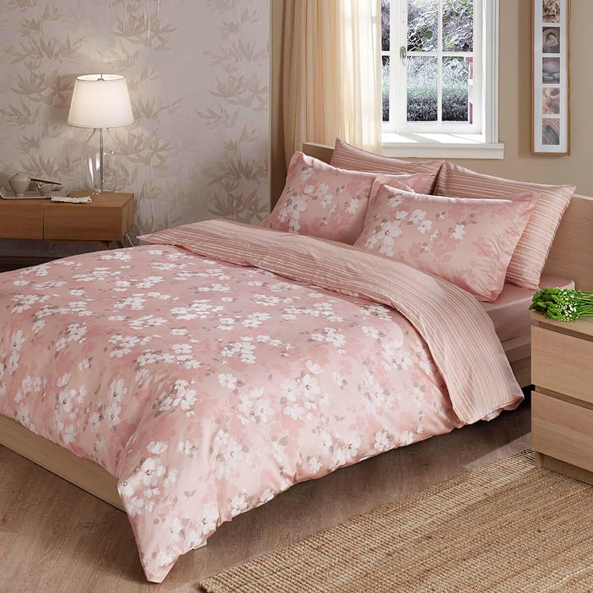 Двуспальное евро постельное белье TAC Shadow Pink Сатин-Delux