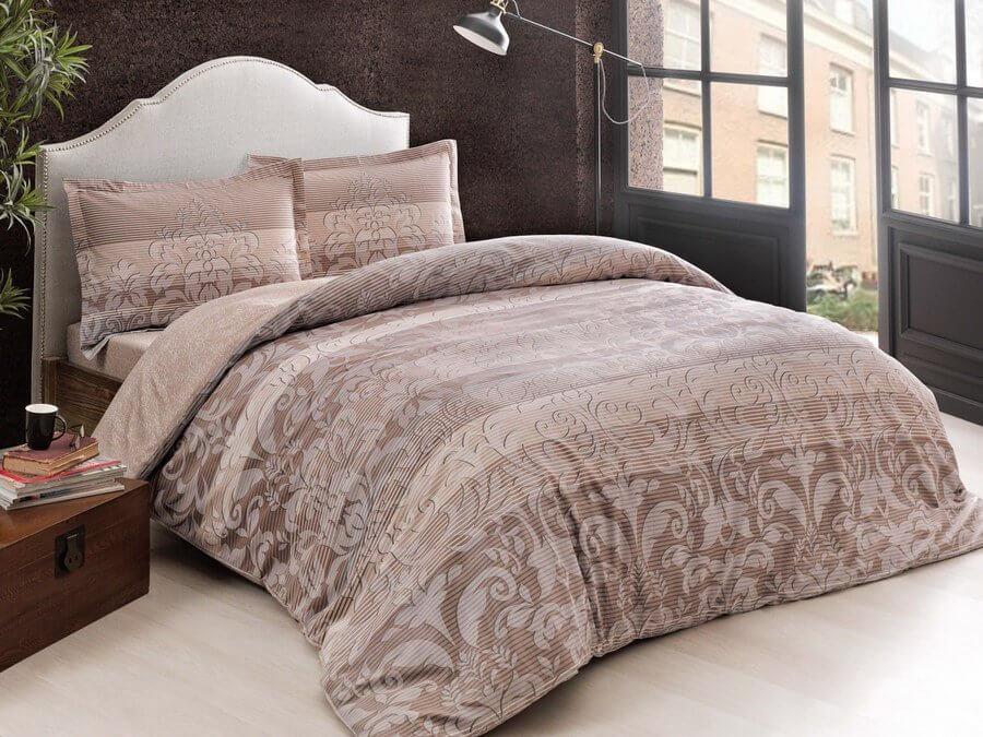 Двуспальное евро постельное белье TAC Luzon Brown Сатин