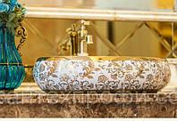 Чаша керамическая накладная - Овальная золотая 009, фото 1