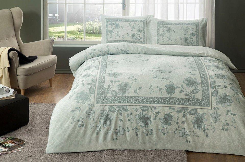 Двуспальное евро постельное белье TAC Glory Mint Ранфорс