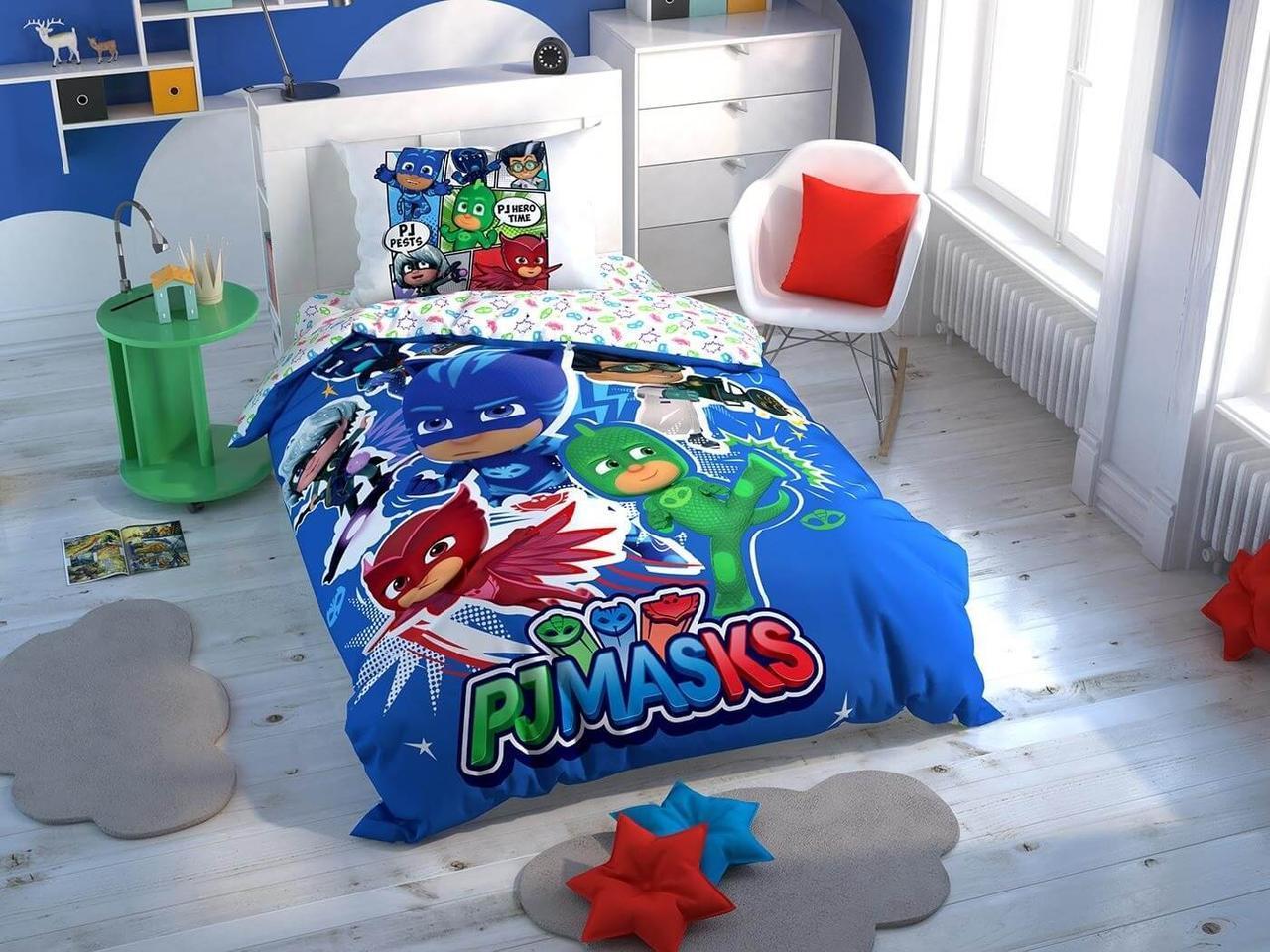 Детское подростковое постельное белье TAC PJ Masks Hero Ранфорс