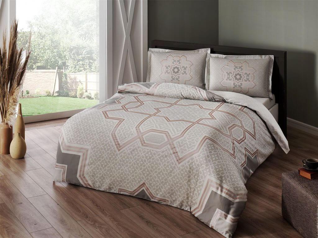 Двуспальное евро постельное белье TAC Atlas Grey Сатин