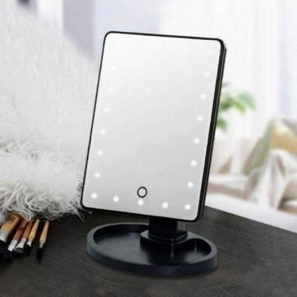 Косметическое зеркало для макияжа с подсветкой Magic Makeup Mirror | Прямоугольное зеркало | Черное, фото 2