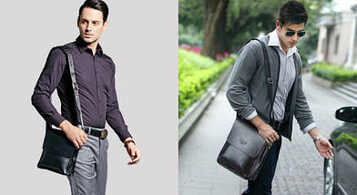 Мужская сумка через плечо POLO VIDENG | Черная, фото 3