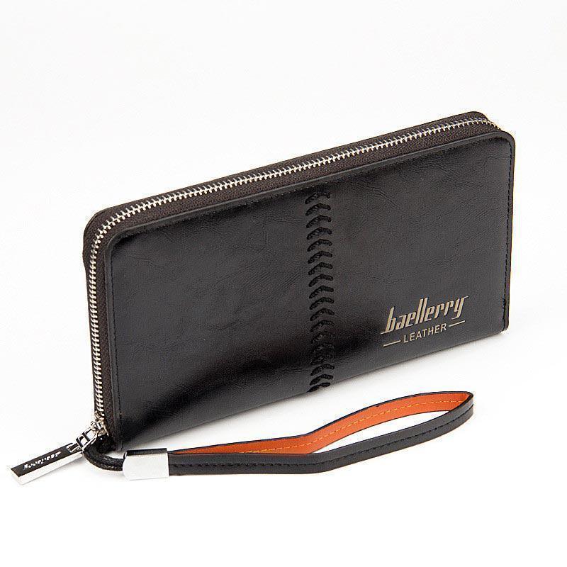 Гаманець Baellerry Leather SW008 | Чоловічий гаманець | Чоловічий клатч | Чорний
