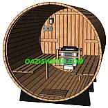 Сауна в бочке 2,7м с кровлей и электрокаменкой SAWO Nordex 6kw, фото 6