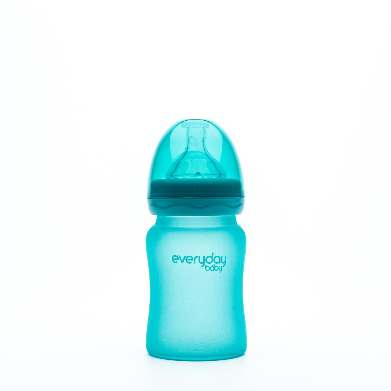 Стеклянная термочувствительная детская бутылочка Everyday Baby 150 мл. Цвет бирюзовый