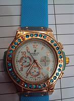 Женские часы Hublot Blue с камнями, кварцевые часы Хаблот