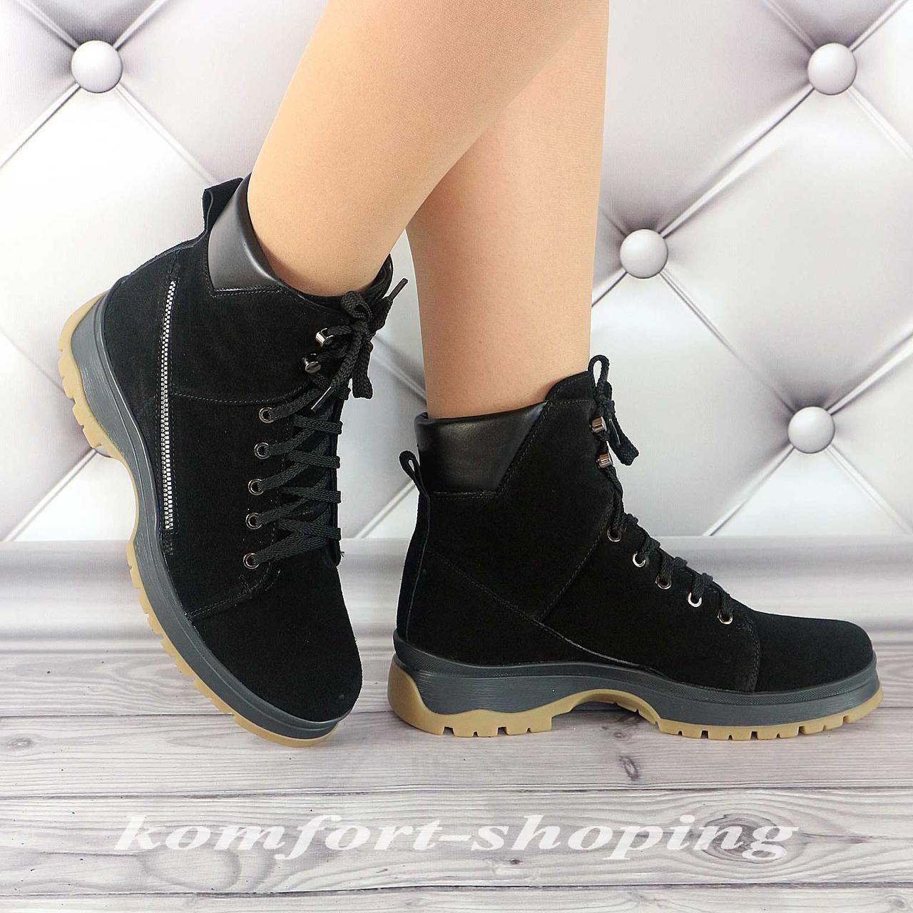 Ботинки женские, замшевые черные на шнуровке V 1273