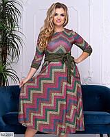 """Женское платье большого размера из ангоры с красивым принтом """"Вики"""""""