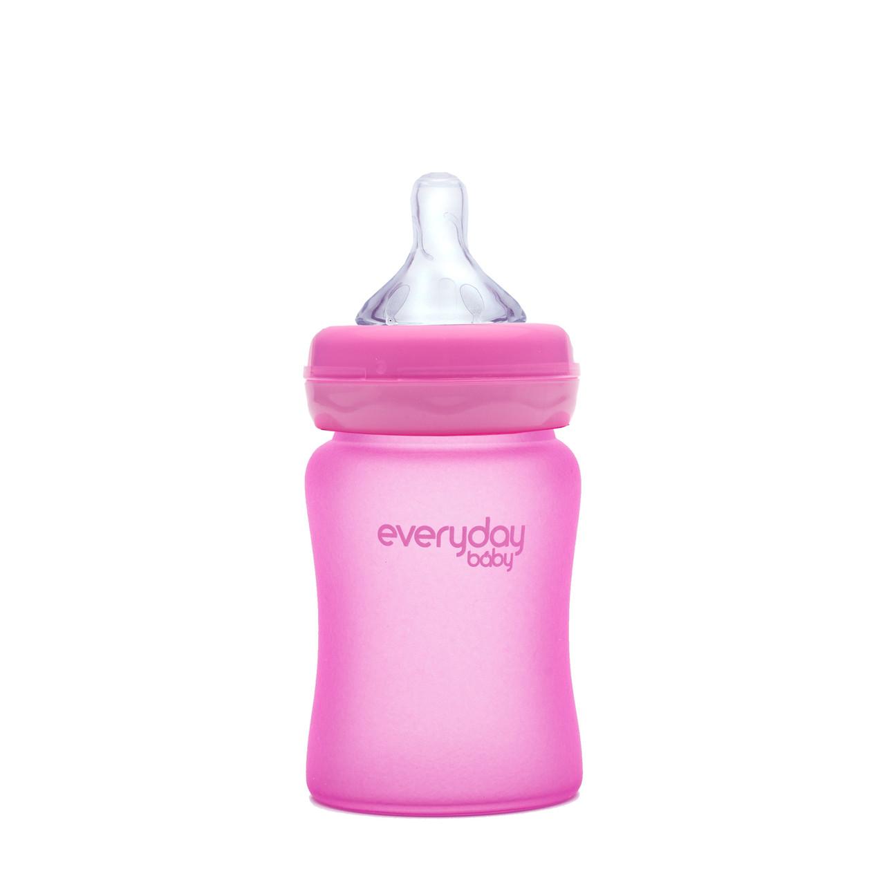 Стеклянная термочувствительная детская бутылочка Everyday Baby 150 мл. Цвет малиновый