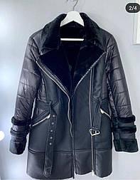 Жіноче пальто (Фабричний Китай) дубляж +плащівка на тонкому синтепоні чорний