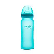 Стеклянная термочувствительная детская бутылочка Everyday Baby 300 мл. Цвет бирюзовый