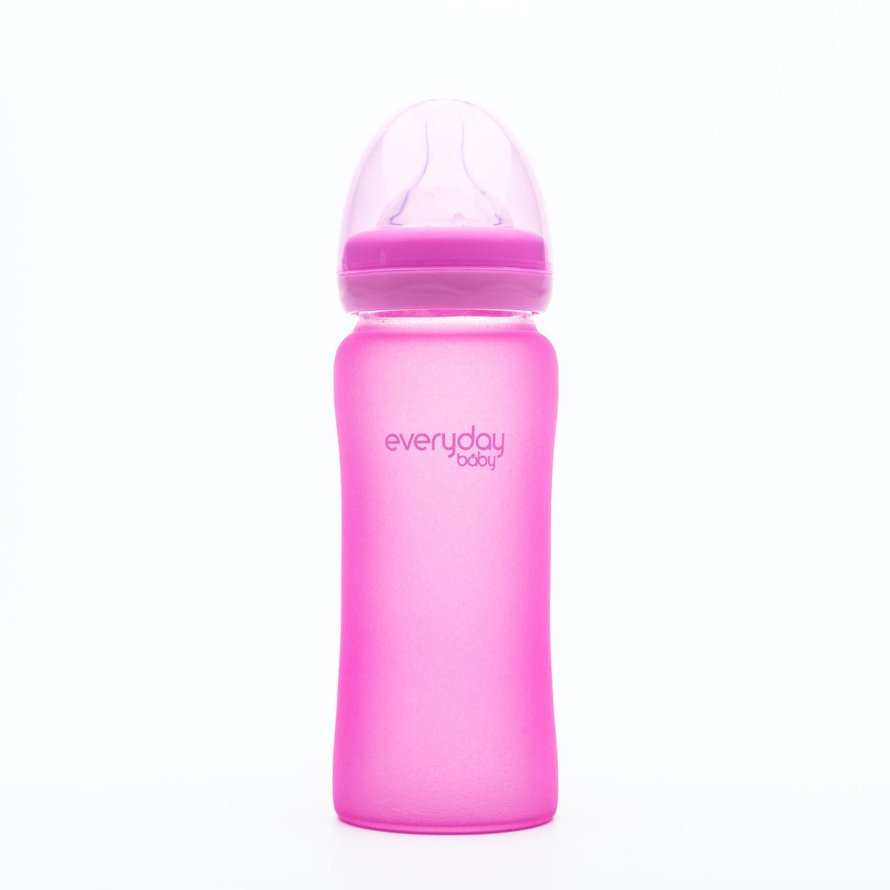 Стеклянная термочувствительная детская бутылочка Everyday Baby 300 мл. Цвет малиновый