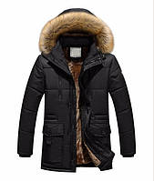 Куртка парка мужская зимняя с капюшоном меховая подкладка меховой воротник, фото 1
