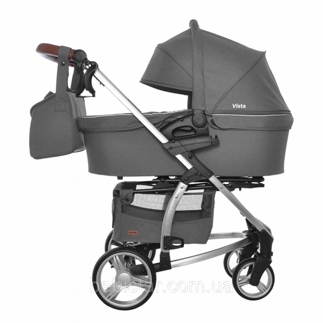 Детская универсальная коляска 2 в 1 темно-серая CARRELLO Vista CRL-6501 Steel Gray