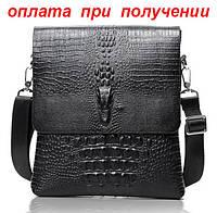 Мужская кожаная брендовая и стильная сумка Крокодил Alligator Lacoste