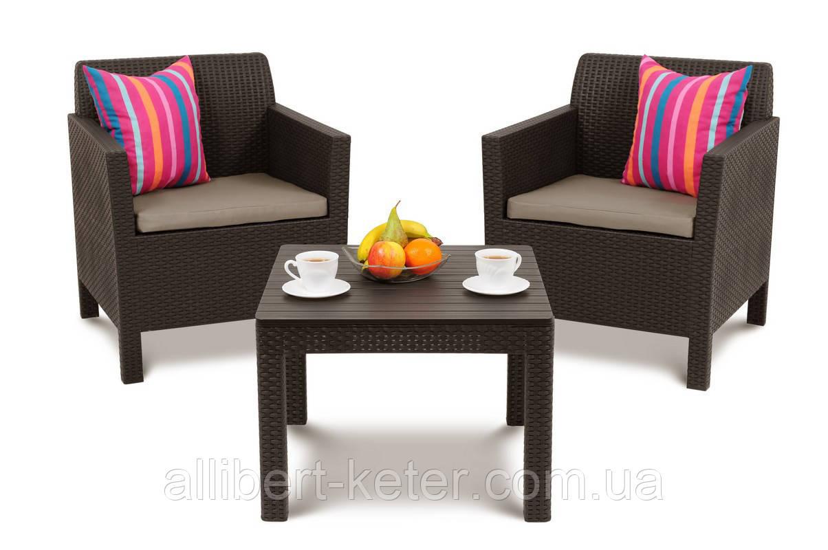 Набор садовой мебели Orlando Balcony Set Brown ( коричневый ) из искусственного ротанга