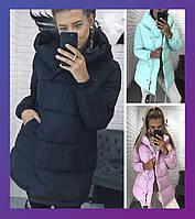 Жіноча зимова подовжена куртка зефірка синтепон олива, чорний, м'ята, рожевий бордо сірий беж хакі 42 44 46