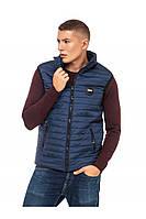 Мужской стеганый жилет без капюшона 48-58 размера синий