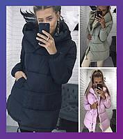 Женская зимняя удлинённая куртка синтепон зефирка олива, черный, мята, розовый бордо серый беж хаки 42 44 46