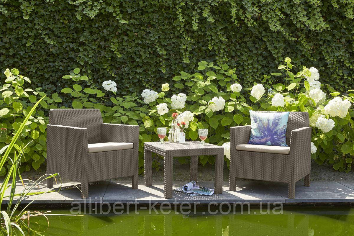Набір садових меблів Orlando Balcony Set Cappuccino ( капучіно ) з штучного ротанга (Allibert by Keter)