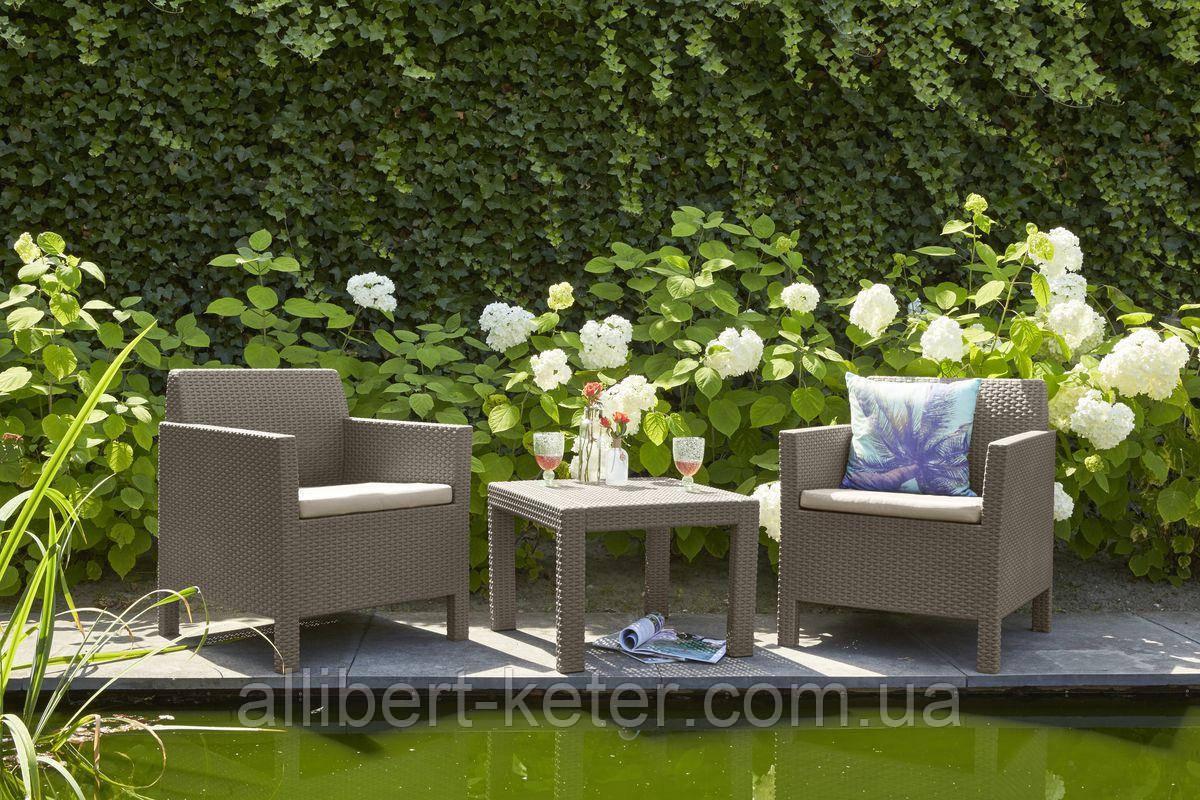 Набор садовой мебели Orlando Balcony Set Cappuccino ( капучино ) из искусственного ротанга