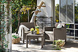 Набір садових меблів Orlando Balcony Set Cappuccino ( капучіно ) з штучного ротанга (Allibert by Keter), фото 3