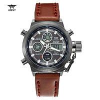 Мужские наручные армейские часы AMST Watch | Коричневые