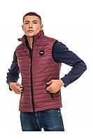 Мужской стеганый жилет без капюшона 48-58 размера бордовый
